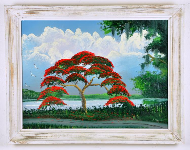 Original Oil on Board, by Listed Artist, Isaac Knight, Original Highwaymen, Florida Landscape