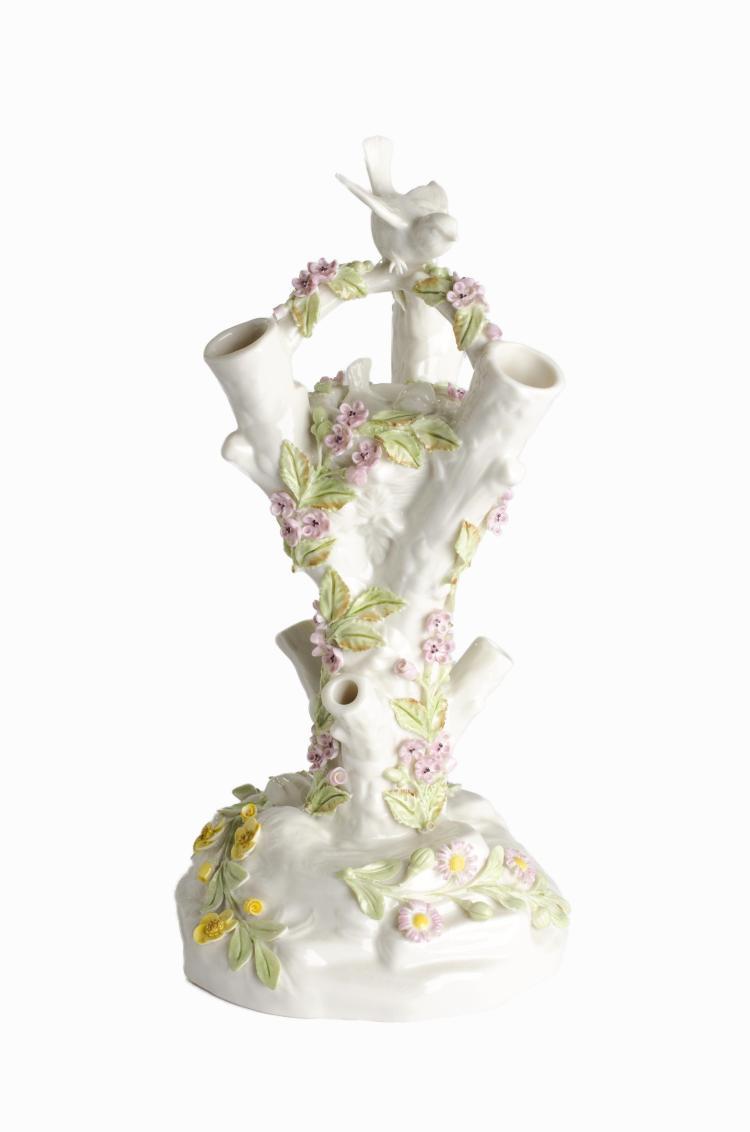 "Fine Porcelain Belleek Ireland ""Bird Stump Vase"" with Birds and Flowers"