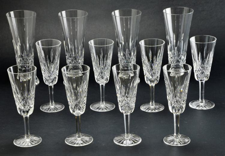 Set of 12 Waterford Stemware and Pilsner Crystal Lismore Glasses