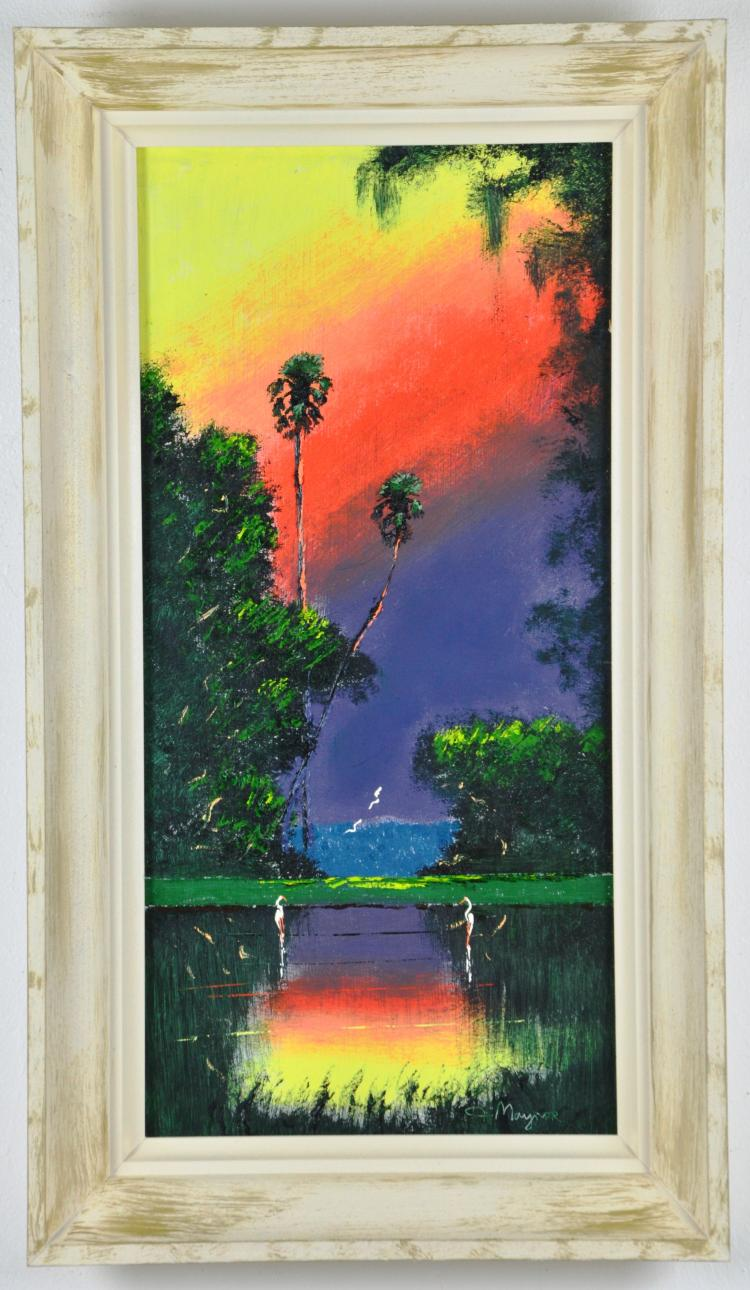 Original Oil on Board, by Listed Artist, John Maynor, Original Highwaymen, Florida Landscape