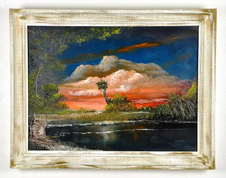 Oil on Board, by Listed Artist, Horace Foster, Highwaymen, Florida Landscape