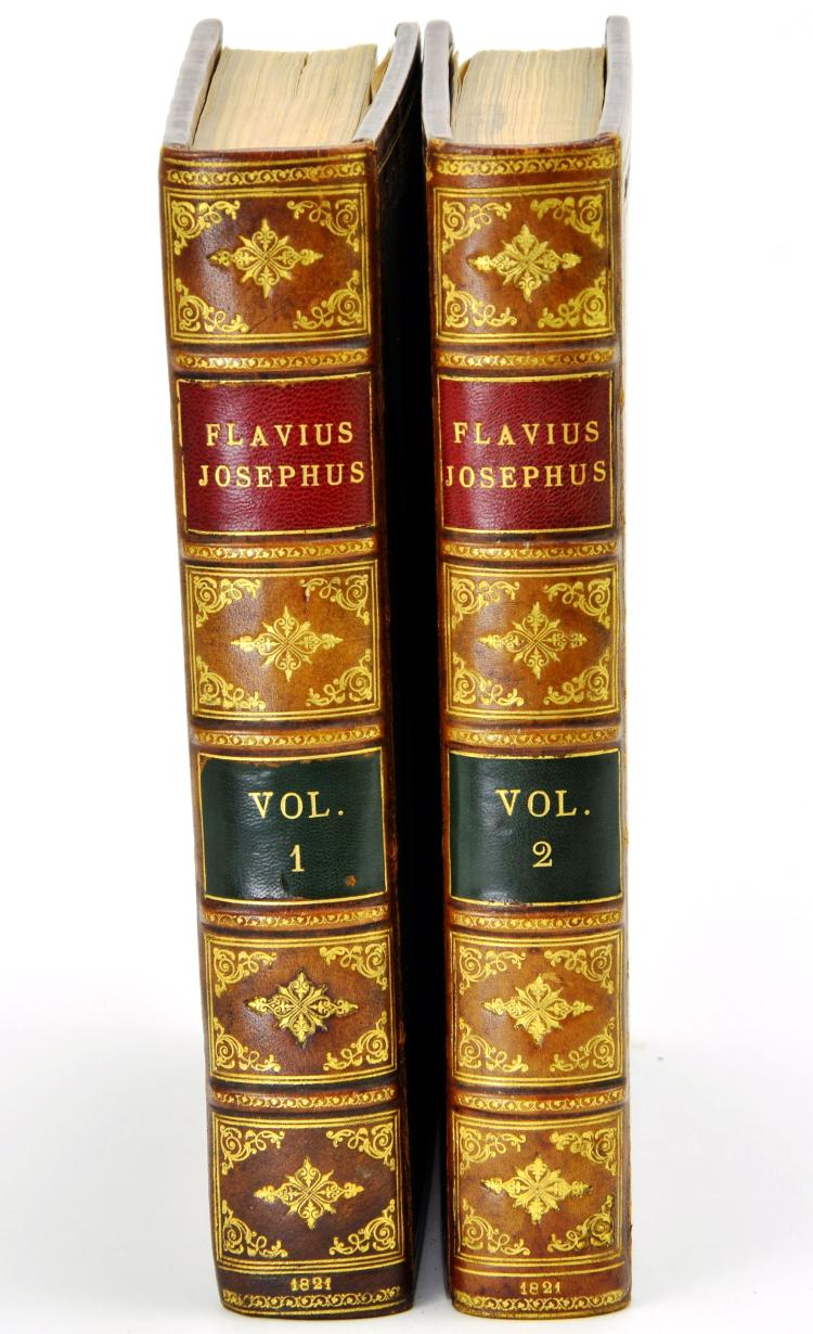 "Rare 2 Vol ""The Genuine Works of Flavius Josephus"" by W. Whiston M.A., S. W. Newbury, 1821"