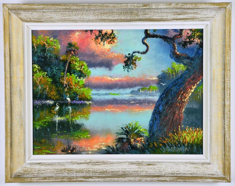 Original Oil on Board, by Listed Artist, Sam Newton, Original Highwaymen,  Gnarly Oak