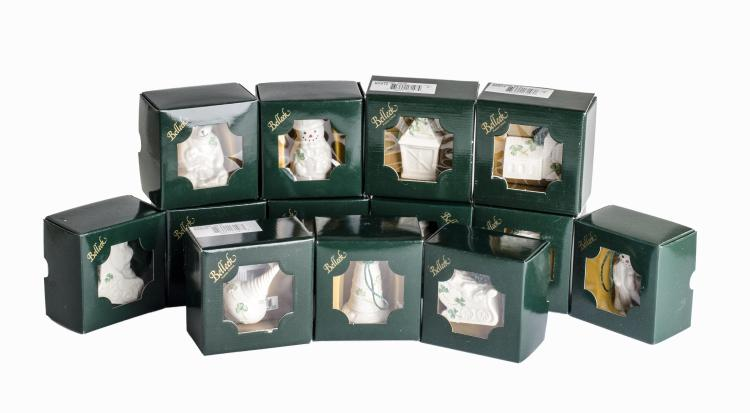 Belleek 13 Piece Fine Parian China Christmas Ornaments