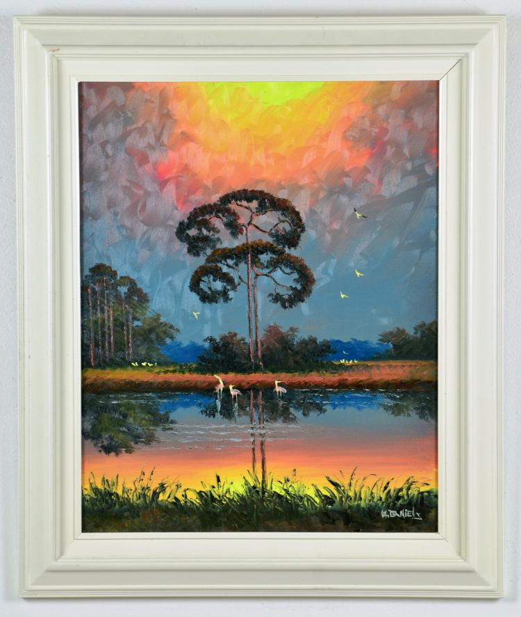 Original Oil on Canvas, by Listed Artist, Willie Daniels, Original Highwaymen, Florida Landscape