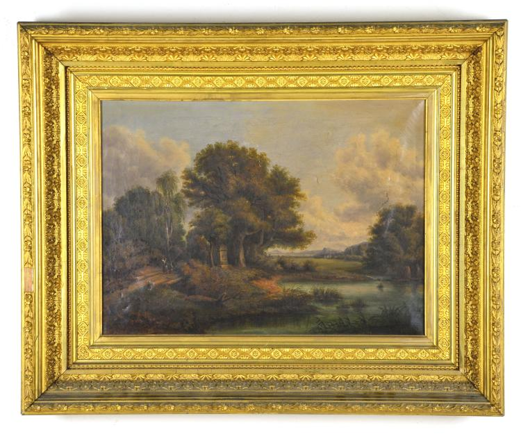Antique Oil Painting of Landscape, Unsigned, Period Frame