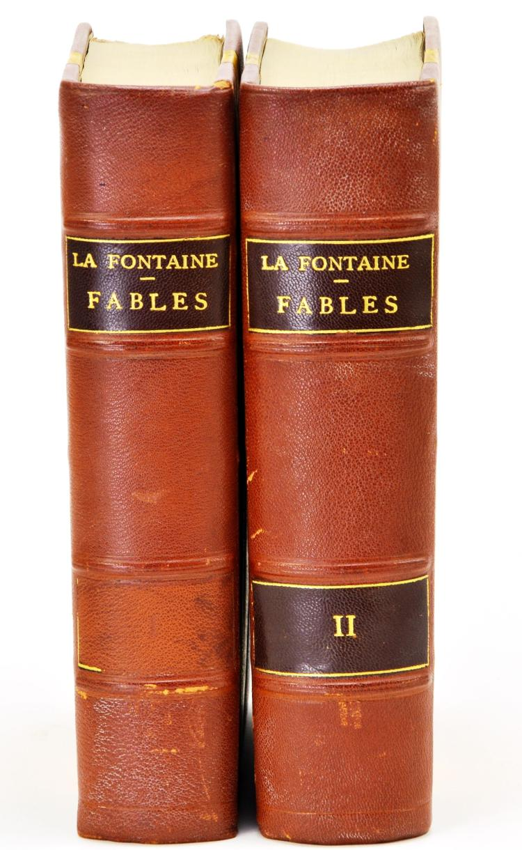 "Fine 2 Volume 1841 La Fontaine ""Fables"" Book Set by Elizur Wright Jr, Illustrated by JJ Grandville"