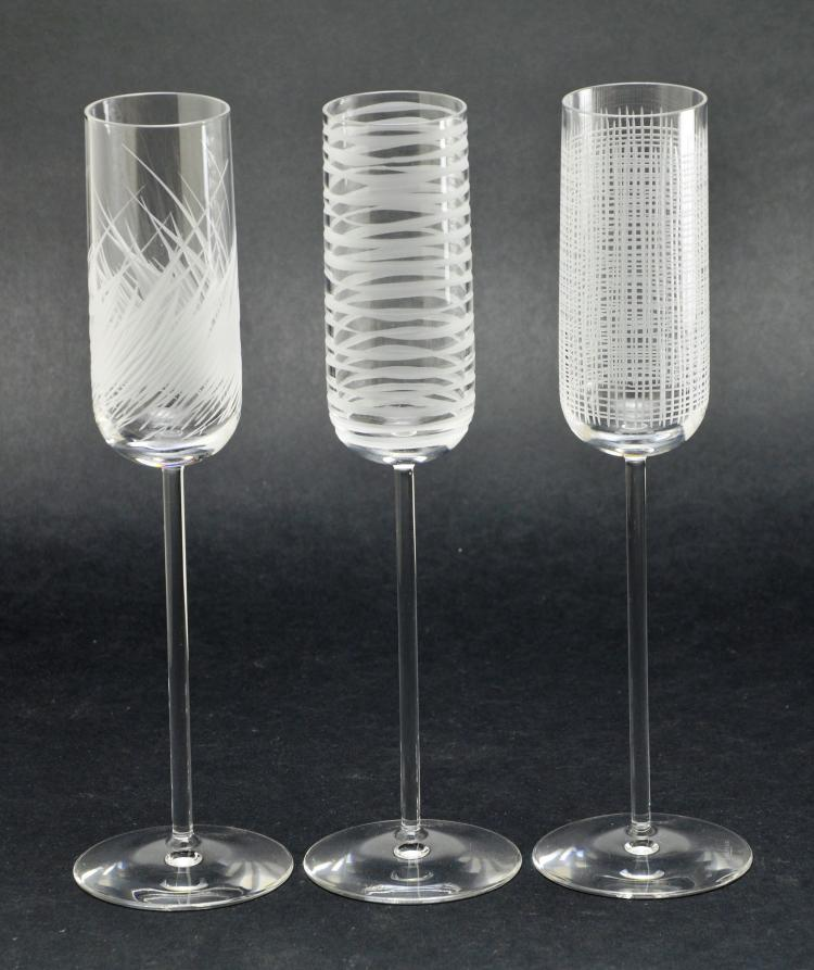 Set of 3 Salivati Crystal Glass Champagne Flutes