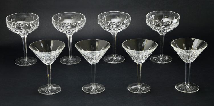 Set of 8 Waterford Stemware Crystal Lismore Martini and Margarita Glasses
