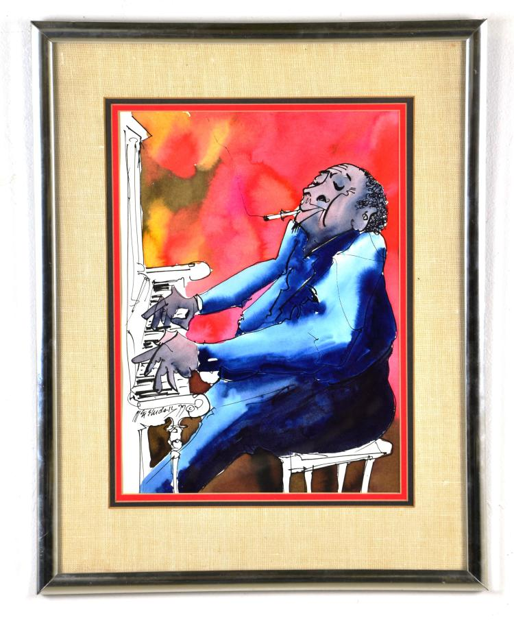 "Listed Artist, Leo Meiersdorff, Original Watercolor of New Orleans ""Piano Man"""