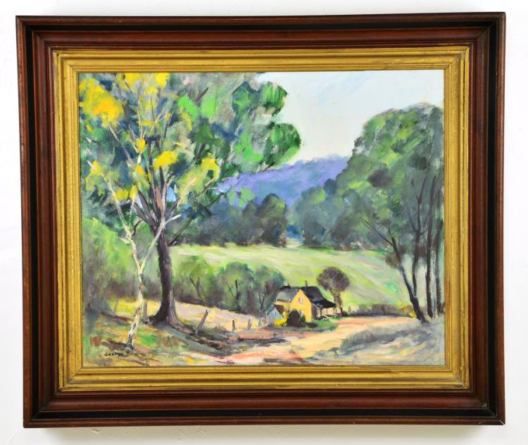 Listed Artist, George Baum, Oil on Canvas of Countryside Landscape