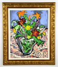 "Abstract Floral Oil Painting ""Floral Still Life"" by Artist LANE"