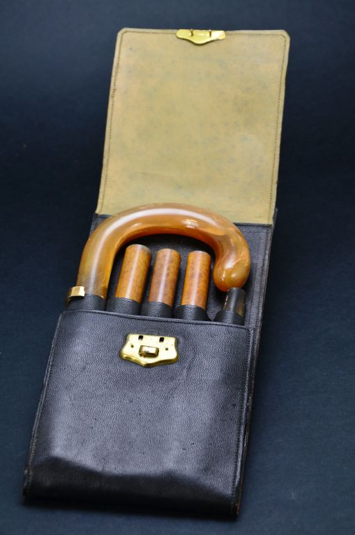 Vintage Horn Handled w 14KT Gold Cuffed Cased Walking Cane Stick