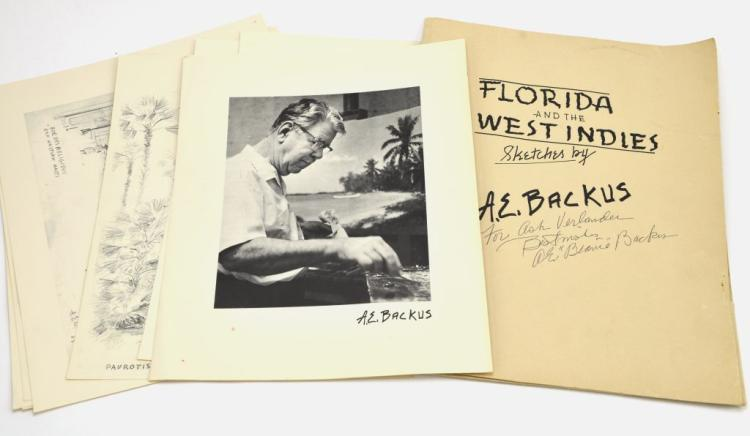 "Signed Portfolio ""Florida and the West Indies Sketches"" by Renowned Listed Artist A.E. Backus"