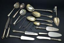 Vintage 30 Piece Collection of Miscellaneous Sterling Silver & Plated Silver Serving Pieces