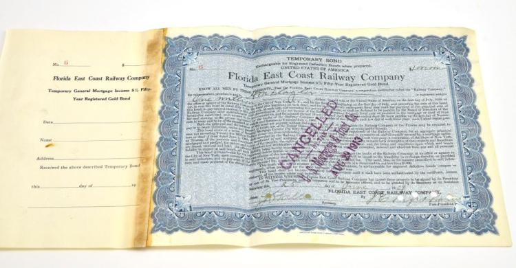Original 1909 Florida East Coast Railway Bond Issued to Henry Flagler for $1,000,000