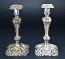 Pair of Vintage Sterling Silver Weighted Ornately Formed Candle Holders, 51.76 Troy Ounces