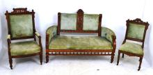 Antique Eastlake 3 Piece Upholstered Settee & Chair Parlor Set