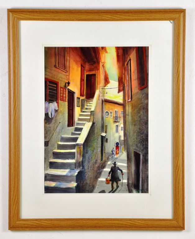 "Watercolor ""Venice Alley"" by Artist J.L. Smith"
