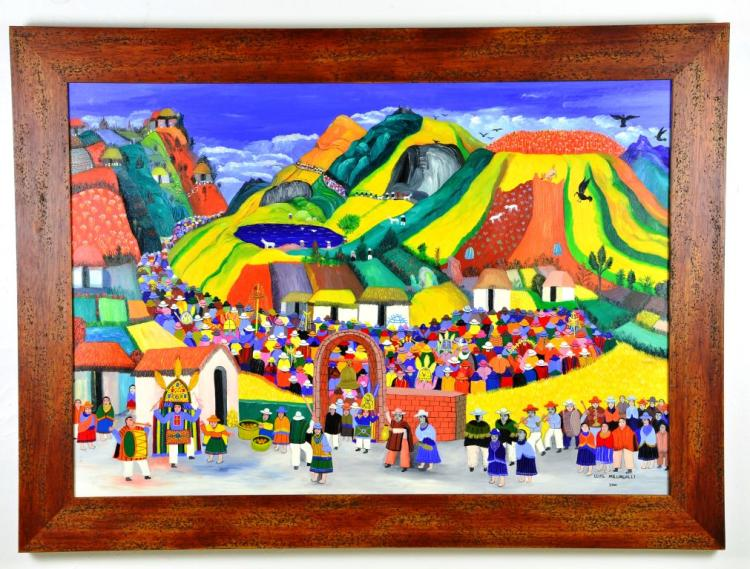 "Oil Painting ""Fiesta Del Danzante"" by Renowned Artist Luis Millingalli"