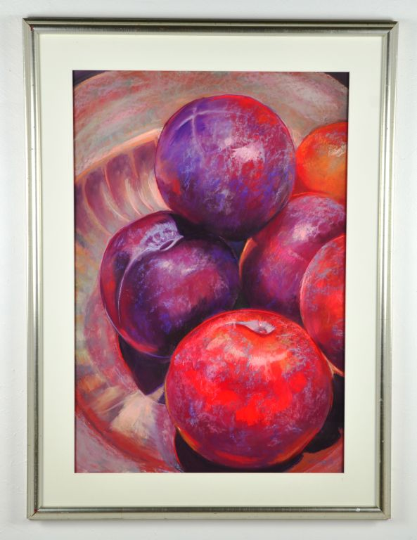 "Colored Pastel Painting Still Life ""Plums Perfect"
