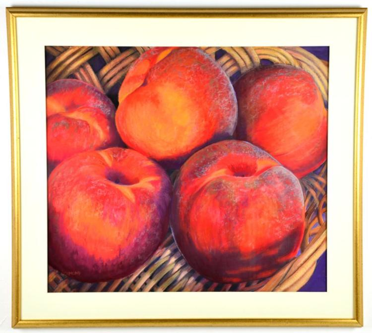 "Colored Pastel Painting Still Life ""Peaches"" by Artist Richmond"
