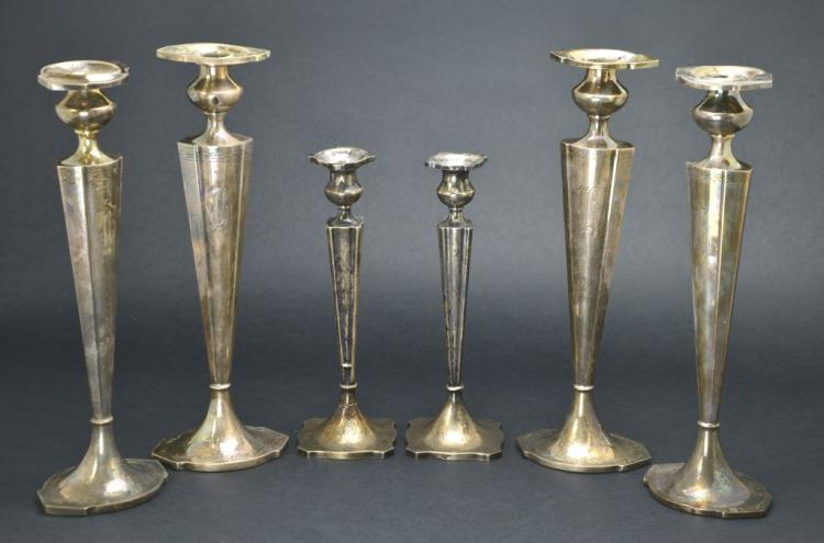 "Vintage set of 6 Sterling Silver ""WBM"" and ""W"" Candle Cement Filled Candle Holders"