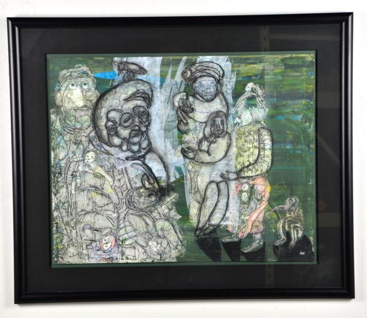 "Mixed Media Tripdic Painting ""The Monkey's Marketplace"" by Renowned Listed Artist J.J. Cromer, 2000"