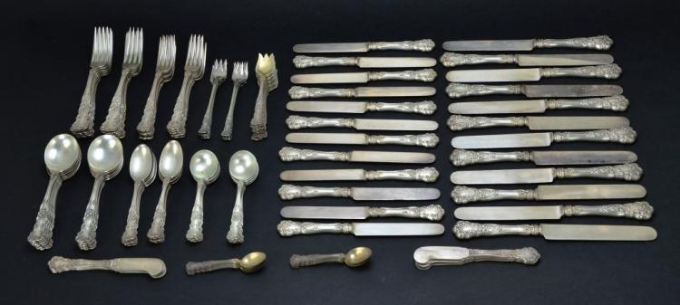 Vintage Gorham 1900 Buttercup Sterling Silver 132 Piece Flatware Set, 111.31 Troy Ounces