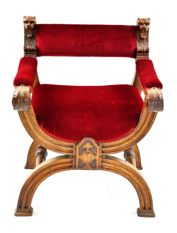 Antique Oak Carved Lions Arm Chair w/ Red Velvet Upholstery