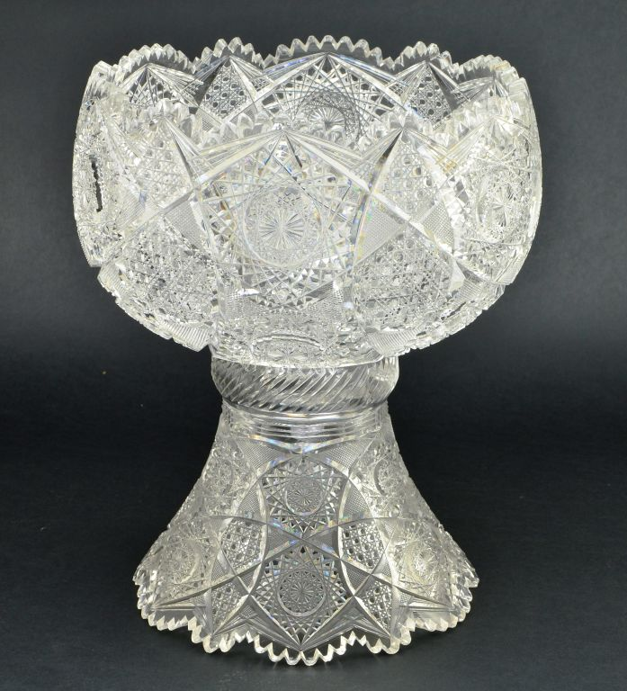 Brilliant Period Cut Glass Punch Bowl with Stand