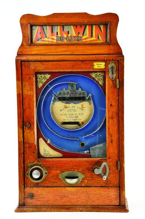 """Rare Vintage European Allwin """"De-Lux"""" Penny Slot Machine by Oliver Whales Manufacturer"""