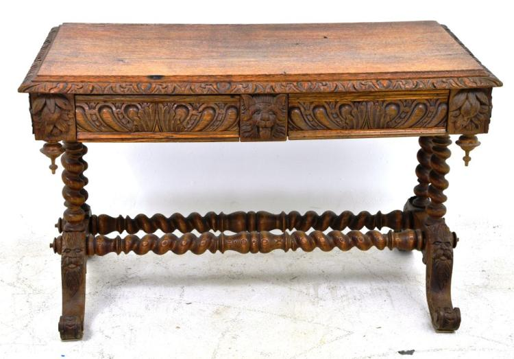Antique Carved Oak Figural Two Drawer Writing Desk Table