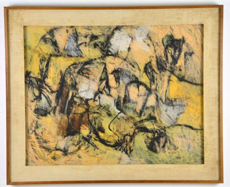 Rare Early Fine Vintage Abstract Encaustic Painting by Renowned Listed Artist Harry Nadler