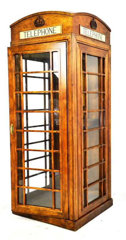 Wooden Functional Reproduction British Telephone Booth w/ Phone