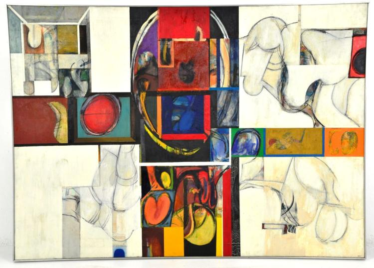 Abstract Encaustic Painting by Renowned Listed Artist Harry Nadler,