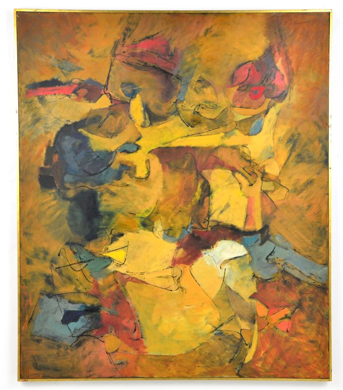 Abstract Oil on Canvas Painting by Renowned Listed Artist Harry Nadler,