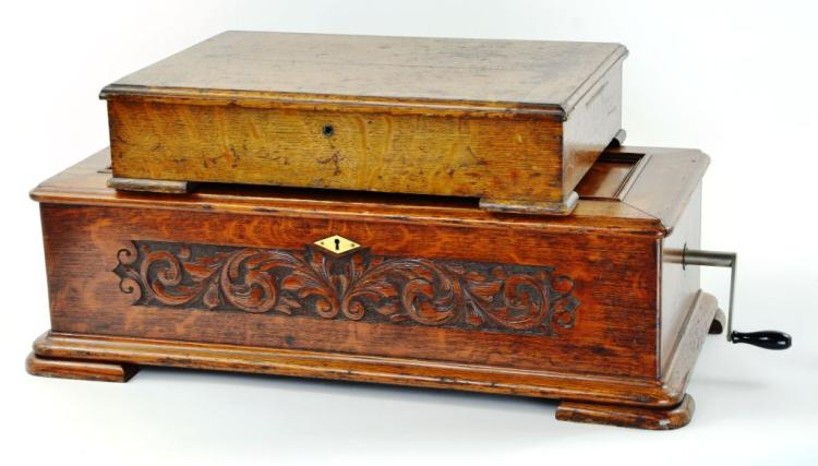 """Rare """"Jacot's"""" Carved Oak Swiss Cylinder Music Box"""