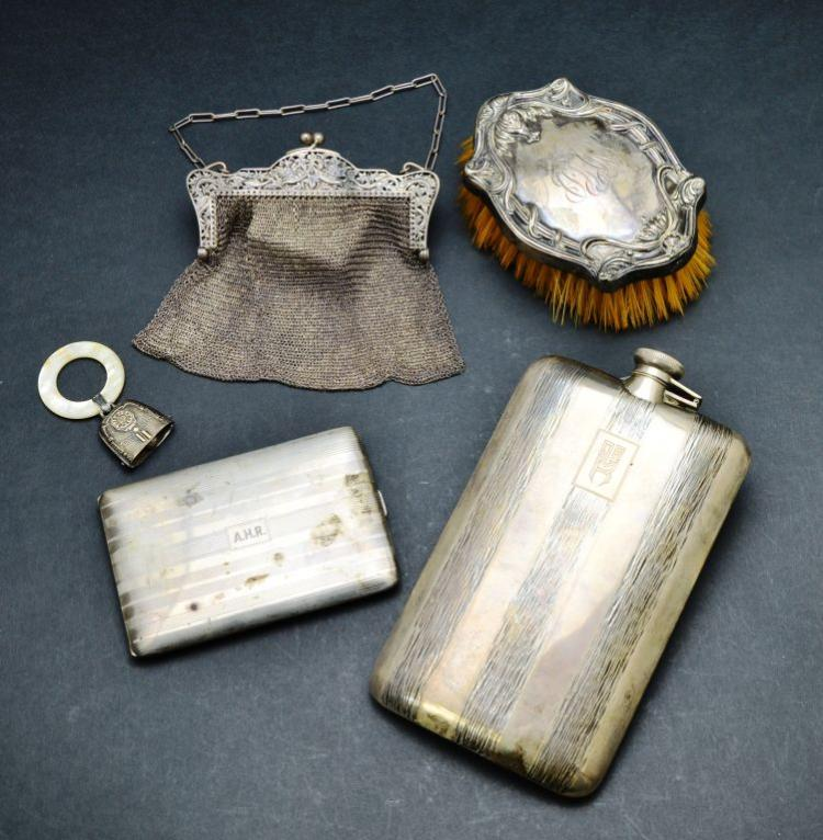 Set of 5 Sterling Silver Accessories, Purse, Flask, Brush, Cigarette Holder, & Teething Ring, 21 T/O