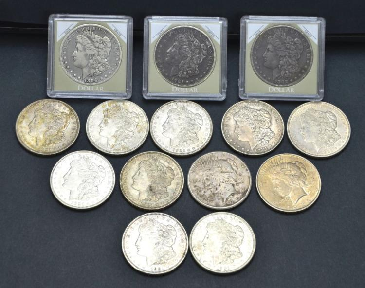 Collection of 14 United States Morgan & Peace Silver Dollar Coins