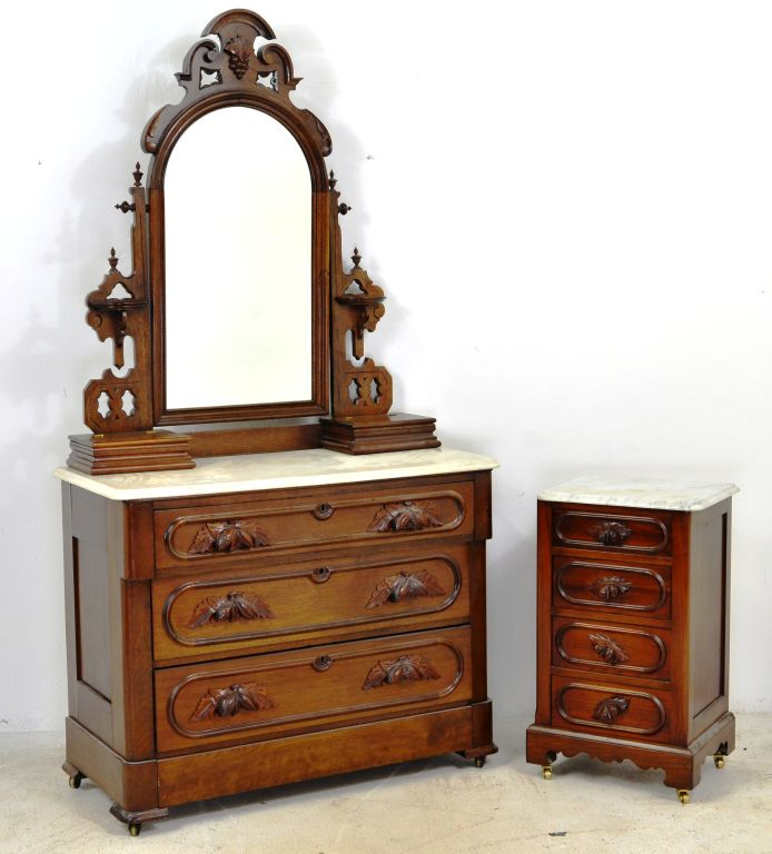 Marble Top Eastlake Dresser with Mirror & Nightstand