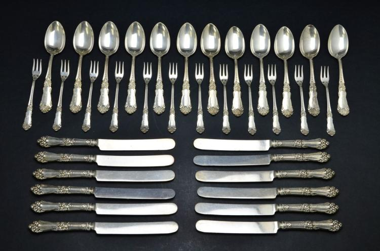Set of 36 Pieces of Sterling Silver Flatware, Knives, Spoons, Small Serving Forks, 25.24 Troy Ounces