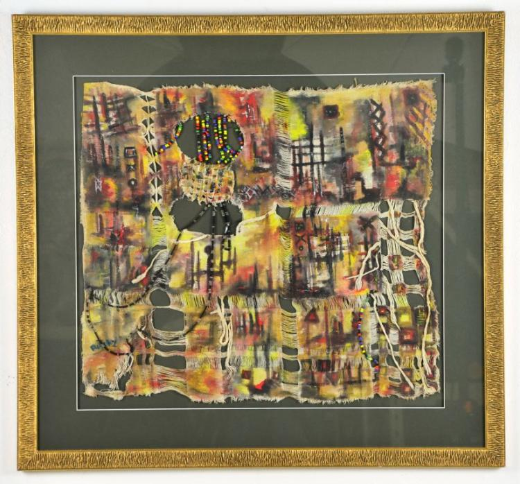 Abstract Cultural Mixed Media Bead & Cloth Painting by Raiky