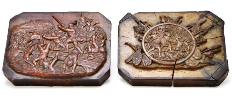 Pair of Antique Wood Carved Plaques with Warriors & Battle Scenes