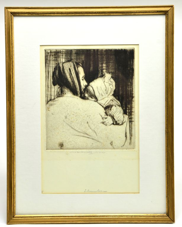 "Engraving ""Slumber"" by World Renowned Listed Artist William Lee Hankey, 1929"