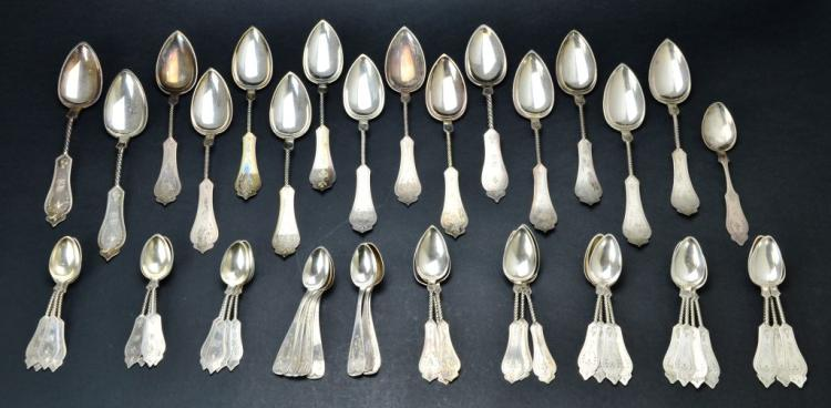 Sterling Silver .800 Collection of Engraved Spoons, Kinsey & Co. and Duhme & Co., 39.58 Troy Ounces