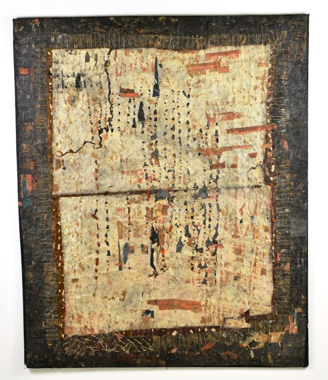 Abstract Cultural Mixed Media Sewn Paper Painting by Renowned Artist Lidia Syroka, 1999