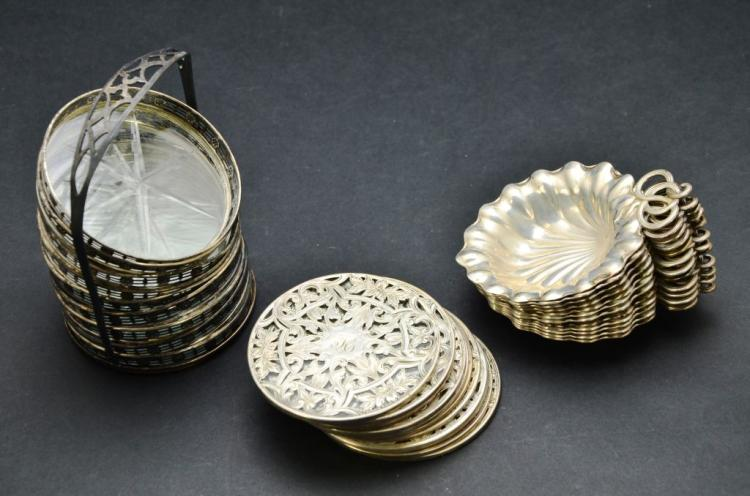 Vintage set of Sterling Silver Gorham Finger Dishes and Coasters, 35.51 Troy Ounces