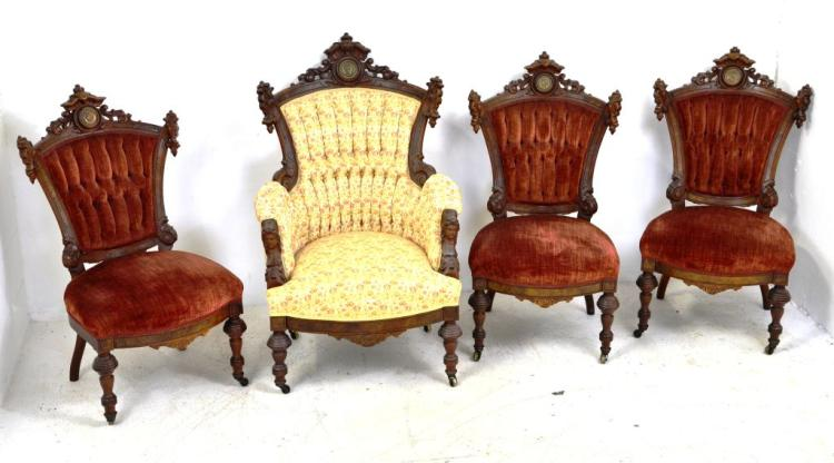 Set of 4 Antique Victorian Carved Parlor Chairs w/ Medallions