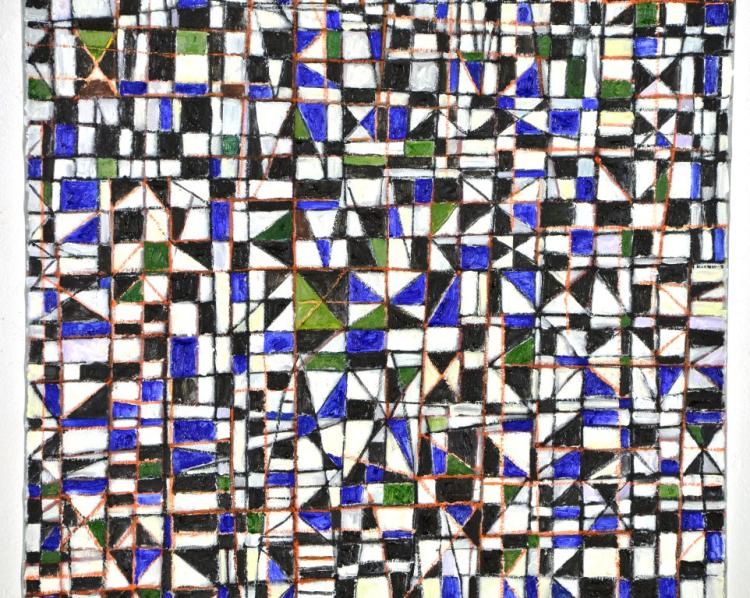 """Geometric Painting """"Pano Da Costa"""" by Renowned Listed Artist Goncalo Ivo"""